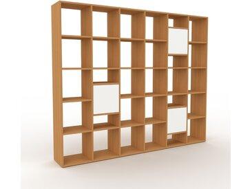 Bibliothèque - chêne, pièce de caractère, rangements raffiné, avec porte blanc - 233 x 195 x 35 cm, configurable