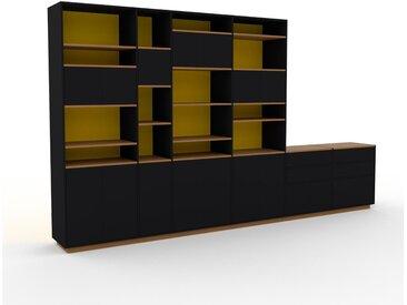 Bibliothèque murale - Noir, combinable, étagère, avec porte Noir et tiroir Noir - 414 x 239 x 47 cm