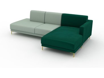 Canapé d'angle - Vert menthe avec des pieds dorés, design épuré, canapé en L ou angle, élégant avec méridienne ou coin - 252 x 75 x 162 cm, modulable