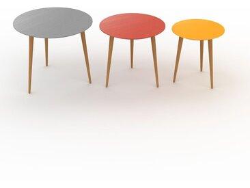 Tables basses gigognes - Jaune, ronde/ronde/ronde, design scandinave, set de 3 tables basses - 60/50/40 x 50/47/44 x 60/50/40 cm