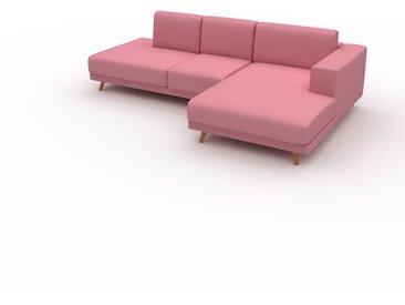Canapé d'angle - Rose Bonbon, design épuré, canapé en L ou angle, élégant avec méridienne ou coin - 264 x 75 x 162 cm, modulable