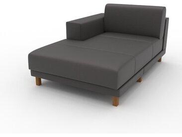 Canapé en cuir - Gris ardoise Cuir Aniline, lounge, esprit club ou cosy avec toucher chaleureux, 104x 75 x 162 cm, modulable