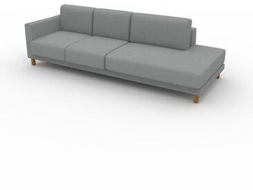 Canapé - Grège, modèle épuré, canapé pour salon, en tissu avec pieds personnalisables - 252 x 75 x 98 cm, modulable