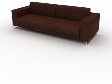 Canapé en cuir - Cognac Cuir Nubuck, lounge, esprit club ou cosy avec toucher chaleureux, 248x 75 x 98 cm, modulable