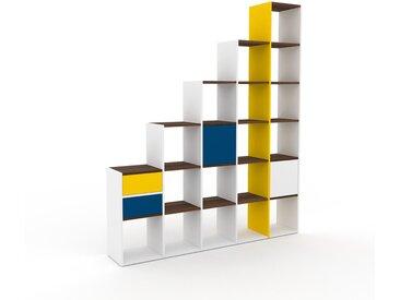 Système d'étagère - Blanc, design, rangements, avec porte Bleu et tiroir Bleu - 195 x 233 x 35 cm