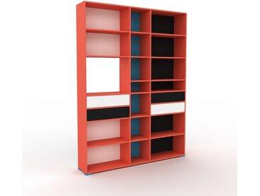 Bibliothèque - Rouge, modèle tendance, rangements pour livres, avec tiroir Blanc - 190 x 254 x 35 cm, modulable
