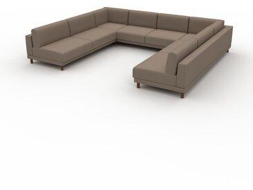 Canapé en U - Brun Gris, design épuré, canapé d'angle panoramique, grand et tendance, avec pieds - 348 x 75 x 294 cm, modulable