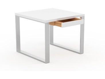 Bureau - Blanc, design industriel, table de travail de qualité, avec pieds en métal - 90 x 75 x 90 cm, personnalisable