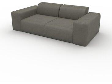Canapé en cuir - Gris gravier Cuir Végan, lounge, esprit club ou cosy avec toucher chaleureux - 216 x 72 x 107 cm, modulable