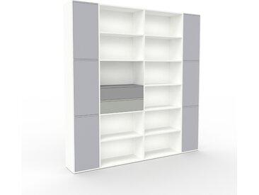 Étagère bureau - Blanc, moderne, cabinet de rangement, avec porte Gris clair et tiroir Gris - 229 x 234 x 35 cm