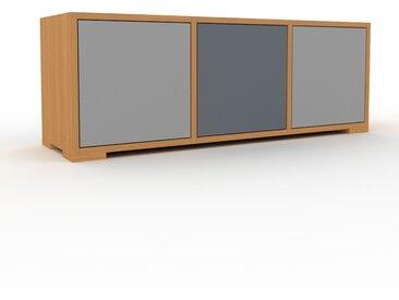 Meuble TV - Chêne, moderne, meuble hifi et multimedia, élégant, avec porte Gris - 118 x 43 x 35 cm, configurable