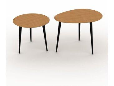 Tables basses gigognes - Chêne, ronde/ovale, design scandinave, set de 2 tables basses - 50/67 x 44/50 x 50/50 cm, personnalisable