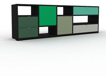 Buffet bas - Noir, design contemporain, avec porte Vert bouteille et tiroir Vert sapin - 193 x 62 x 35 cm
