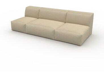 Canapé en cuir - Beige taupe Cuir Végan, lounge, esprit club ou cosy avec toucher chaleureux - 237 x 72 x 107 cm, modulable