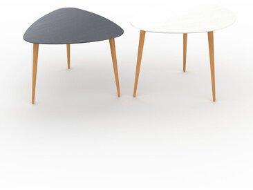 Tables basses gigognes - Blanc, triangulaire/ovale, design scandinave, set de 2 tables basses - 59/67 x 44/50 x 61/50 cm, personnalisable