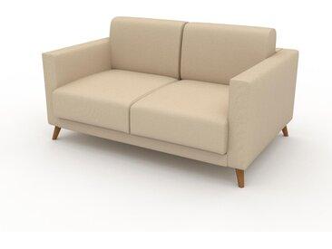 Canapé - Beige Crème, modèle épuré, canapé pour salon, en tissu avec pieds personnalisables - 145 x 75 x 98 cm, modulable