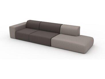 Canapé en cuir - Beige taupe/Brun gris Cuir Végan, lounge, esprit club ou cosy avec toucher chaleureux - 343 x 72 x 107 cm, modulable