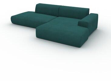Canapé en U Velours - Vert Océan, design arrondi, canapé d'angle panoramique, grand, bas et confortable - 296 x 72 x 168 cm, modulable