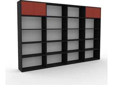 Bibliothèque - Blanc, pièce de caractère, rangements raffiné, avec porte Terra cotta - 301 x 195 x 35 cm, configurable