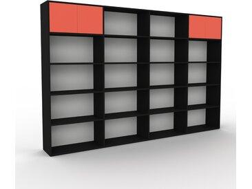 Bibliothèque - Noir, pièce de caractère, rangements raffiné, avec porte Rouge - 301 x 195 x 35 cm, configurable