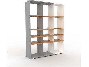Bibliothèque - Gris, design, étagère pour livres, sophistiquée, ouverte et fonctionelle - 118 x 158 x 35 cm, personnalisable