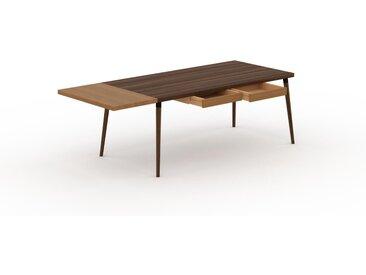 Bureau scandinave - Noyer, design moderne, table de travail nordique, avec pieds inclinés et épurés - 230 x 75 x 90 cm, modulable