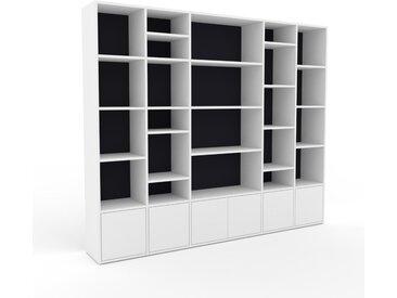 Bibliothèque - Graphite, pièce de caractère, rangements raffiné, avec porte Blanc - 231 x 195 x 35 cm, configurable