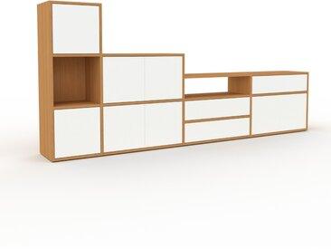 Enfilade - Chêne, design, buffet, avec porte Blanc et tiroir Blanc - 265 x 118 x 35 cm