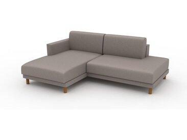 Canapé en cuir - Beige taupe Cuir Végan, lounge, esprit club ou cosy avec toucher chaleureux, 212x 75 x 162 cm, modulable