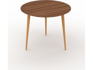 Table basse - Noyer, ronde, design scandinave, petite table pour salon élégante - 60 x 50 x 60 cm, personnalisable