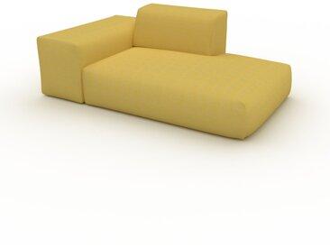 Canapé - Jaune Moutarde, forme arrondie, canapé bas et profond pour salon, en tissu sans pieds - 182 x 72 x 107 cm, modulable
