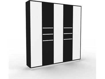 Armoire - Blanc, design, pour documents, avec porte Noir et tiroir Noir - 195 x 200 x 35 cm