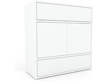 Caisson à roulette - Blanc, moderne, avec porte Blanc et tiroir Blanc - 77 x 80 x 35 cm