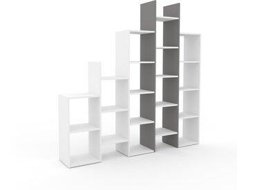 Système d'étagère - Blanc, design contemporain, rangements de qualité, modulables - 195 x 195 x 35 cm, personnalisable