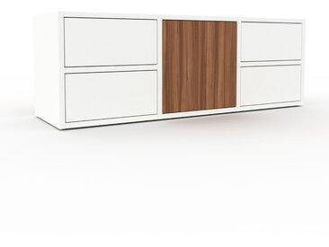 Meuble TV - Blanc, design, meuble hifi, multimedia, avec porte Noyer et tiroir Blanc - 118 x 41 x 35 cm