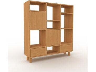 Bibliothèque murale - Chêne, combinable, étagère, avec porte Chêne et tiroir Chêne - 118 x 130 x 35 cm