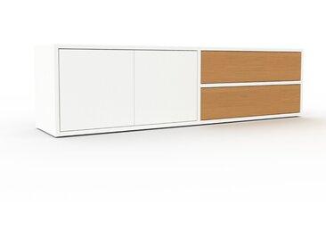 Meuble TV - Blanc, design, meuble hifi, multimedia, avec porte Blanc et tiroir Chêne - 152 x 41 x 35 cm