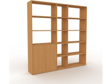 Système d'étagère - Chêne, modulable, rangements, avec porte Chêne - 190 x 195 x 35 cm