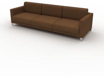 Canapé en cuir - Noix Cuir Nubuck, lounge, esprit club ou cosy avec toucher chaleureux, 264x 75 x 98 cm, modulable