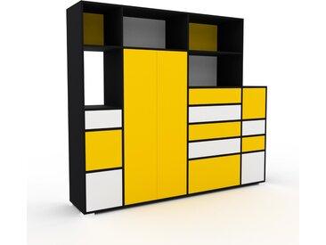 Armoire - Jaune, design, pour documents, avec porte Jaune et tiroir Blanc - 229 x 196 x 47 cm