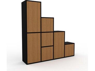 Système d'étagère - Chêne, modulable, rangements, avec porte Chêne - 156 x 157 x 35 cm