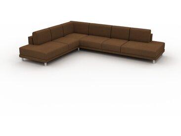 Canapé en cuir - Noix Cuir Nubuck, lounge, esprit club ou cosy avec toucher chaleureux, 334x 75 x 254 cm, modulable