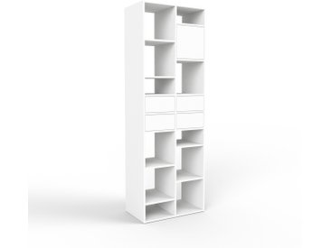 Système d'étagère - blanc, design, rangements, avec porte blanc et tiroir blanc - 79 x 233 x 47 cm