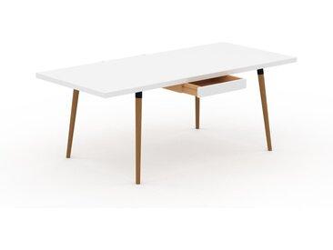 Table à manger - Blanc, design scandinave, pour salle à manger ou cuisine nordique, table extensible à rallonge - 200 x 75 x 90 cm