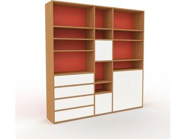 Système d'étagère - Chêne, design, rangements, avec porte Blanc et tiroir Blanc - 190 x 195 x 35 cm