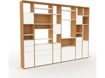 Bibliothèque murale - Blanc, combinable, étagère, avec porte Blanc et tiroir Blanc - 306 x 233 x 35 cm