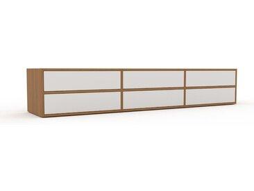 Buffet bas - Blanc, modèle tendance, rangements bas sophistiqué, avec tiroir Blanc - 226 x 41 x 47 cm, modulable