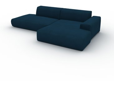 Canapé en U Velours - Bleu Nuit, design arrondi, canapé d'angle panoramique, grand, bas et confortable - 296 x 72 x 168 cm, modulable