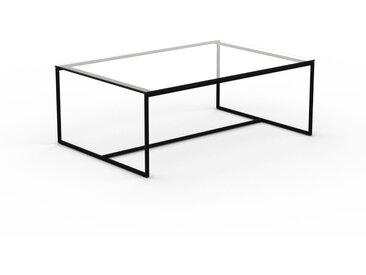 Table basse en Verre clair transparent, design industriel, bout de canapé raffiné - 121 x 46 x 81 cm, personnalisable
