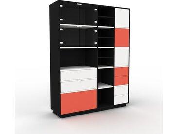 Vitrine - Noir, design, pour documents, avec porte Verre clair transparent et tiroir Blanc - 154 x 200 x 47 cm